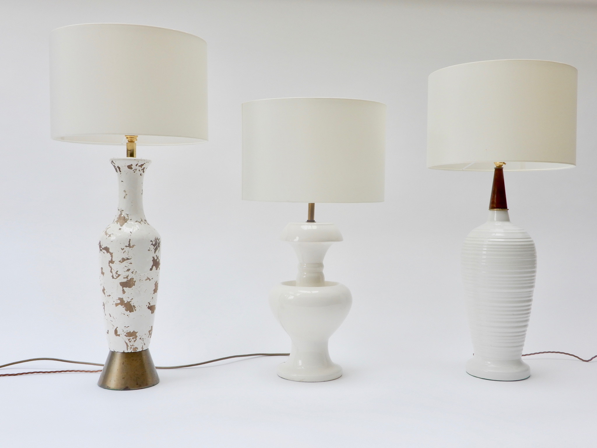 Set of 3 White Table Lamps