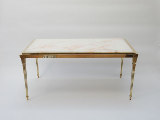 Sold - Brass and Marble Coffee Table